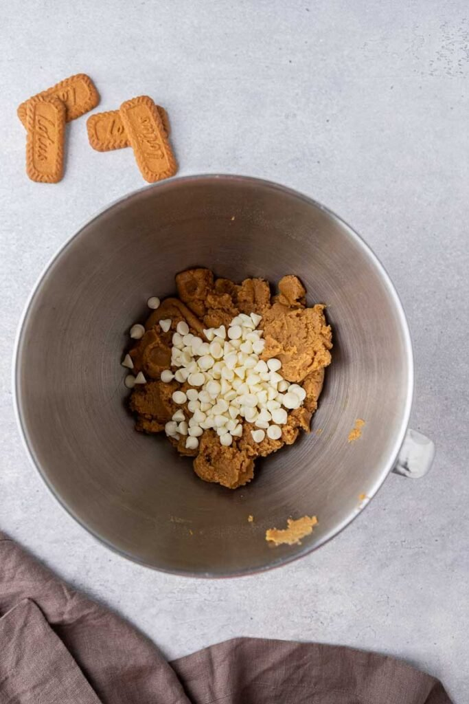 White chocolate chips in mixing bowl