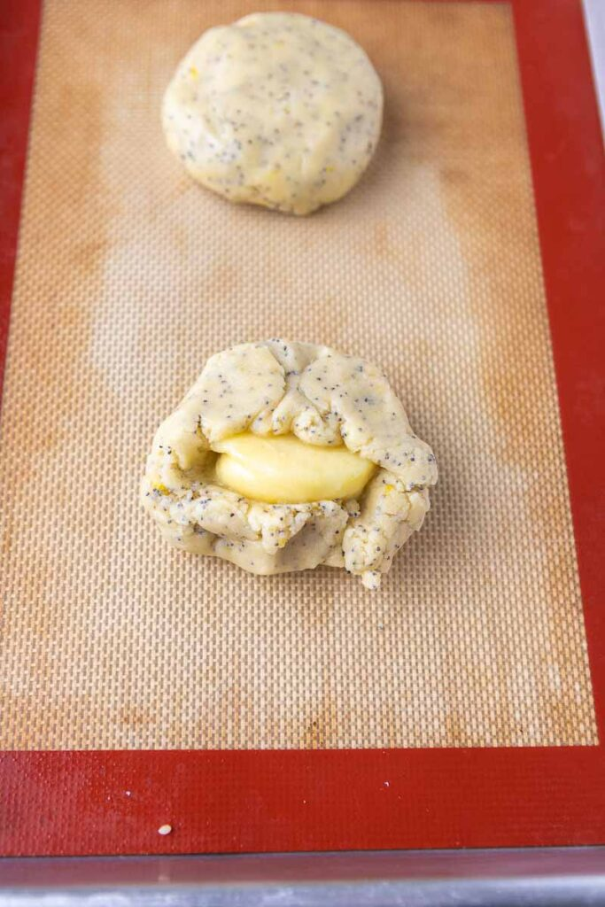 cookie dough with frozen lemon curd in the center