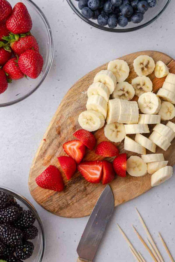 Sliced bananas and strawberries