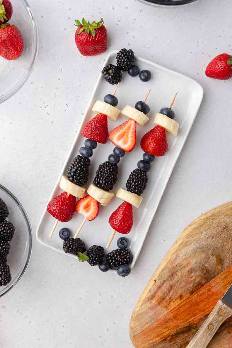 Kid-Friendly Red White and Blue Fruit Skewers