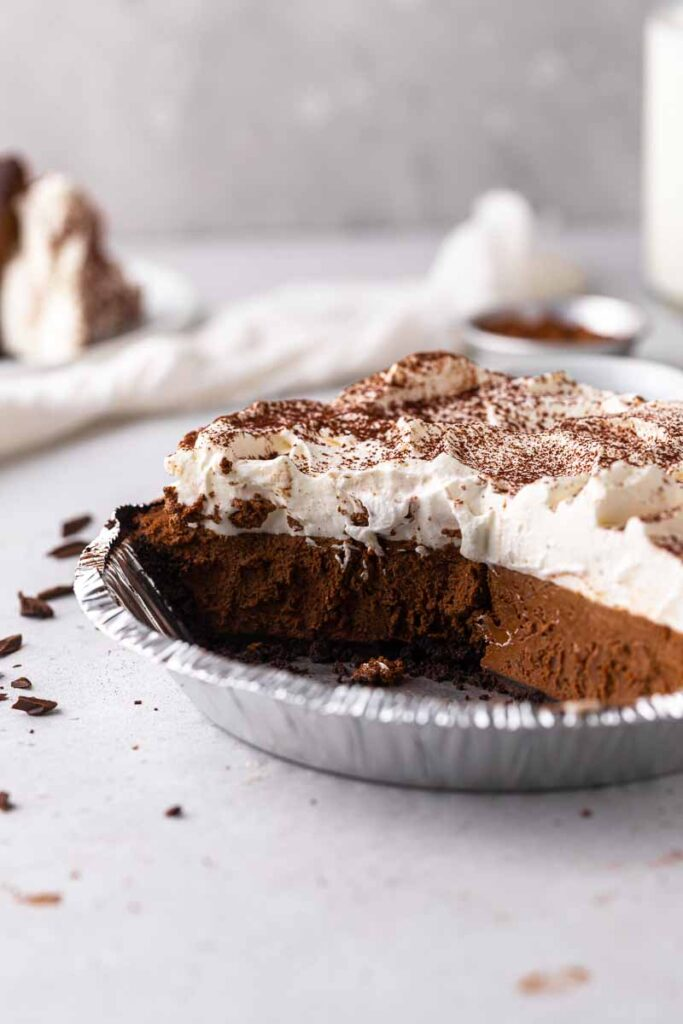 Sliced chocolate pie