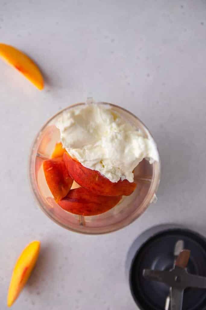 Smoothie ingredients in a blender