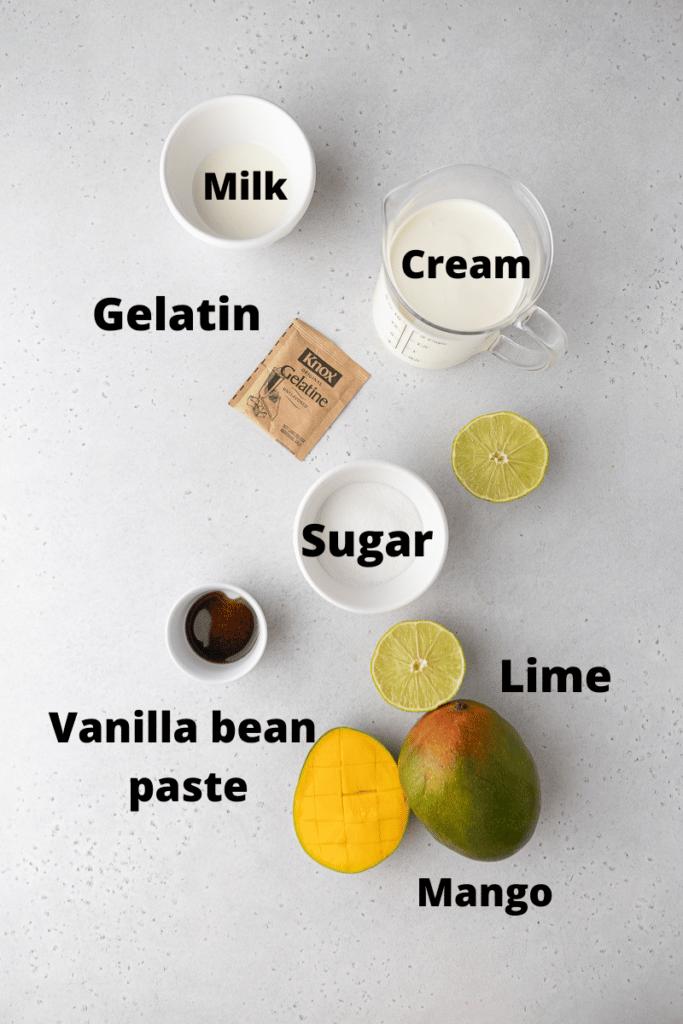 Mango panna cotta ingredients
