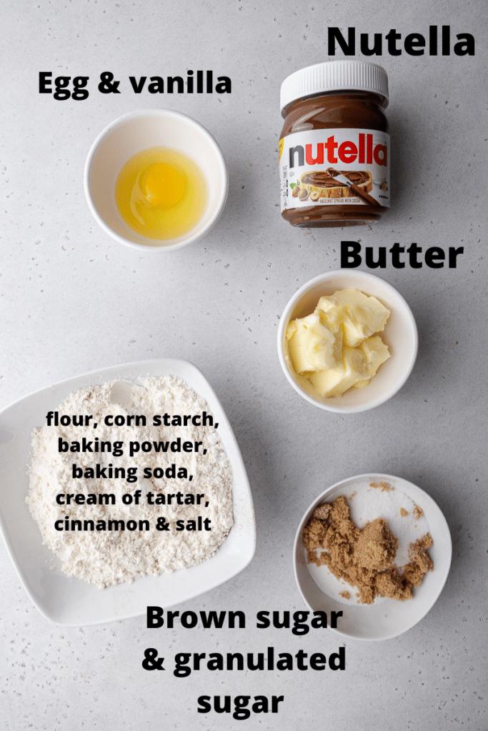 Ingredients for crumbl hazelnut churro cookies