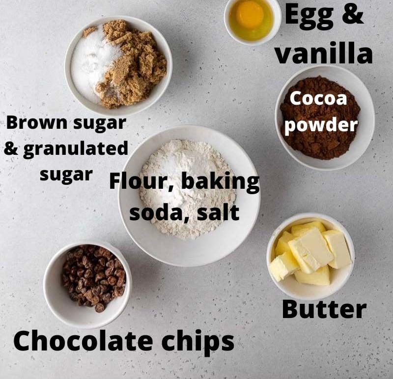 Ingredients for crumbl dark dream cookies