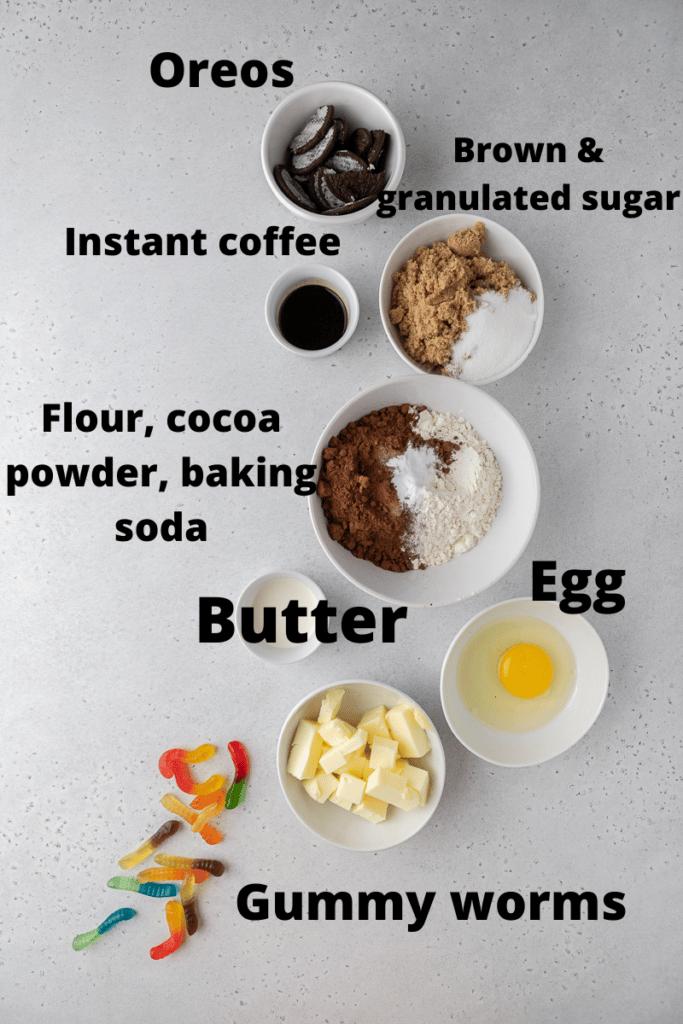 ingredients for dirt cake cookies
