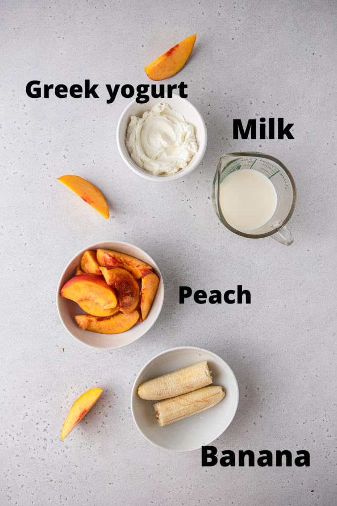 Ingredients for banana peach smoothie