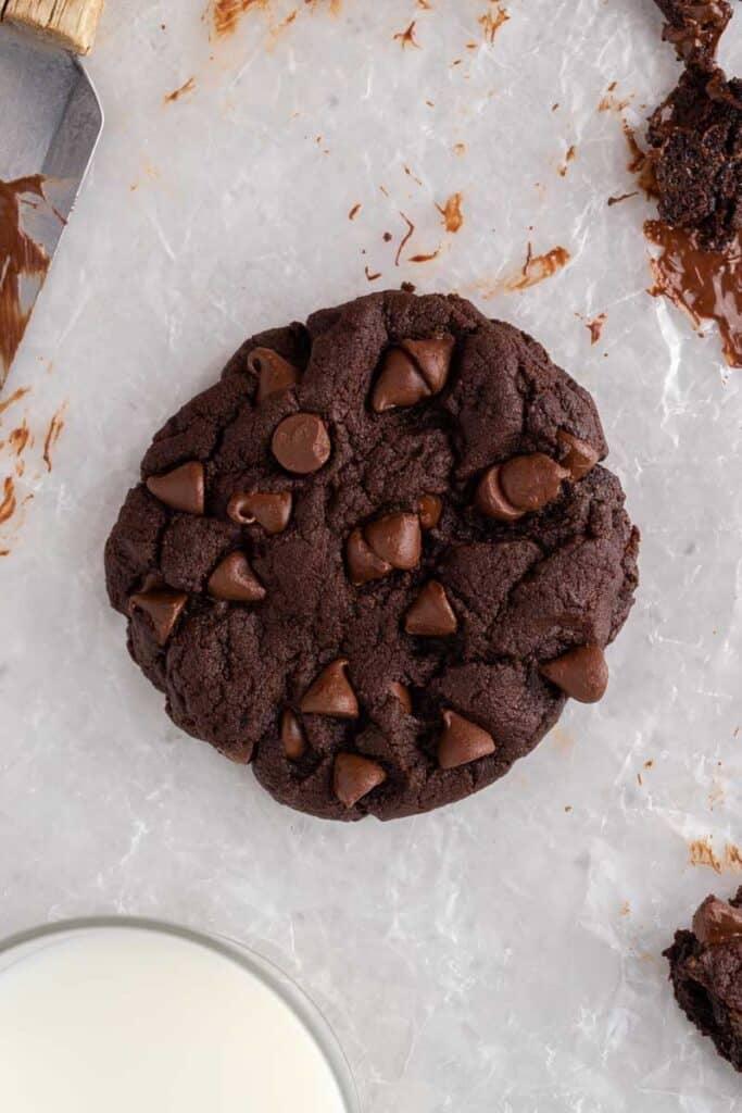 Overhead shot of double chocolate cookies