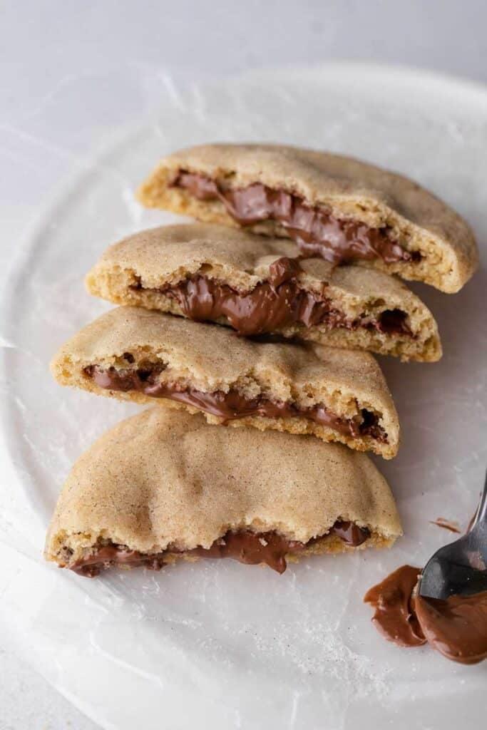 Hazelnut churro cookies broken in half