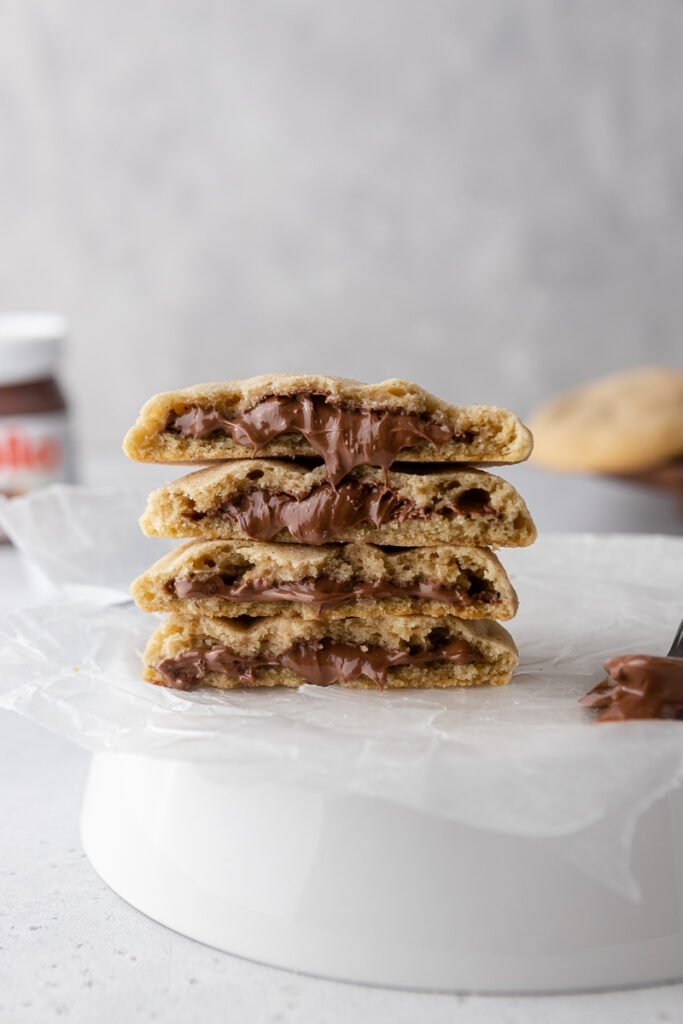 Stack of churro nutella cookies