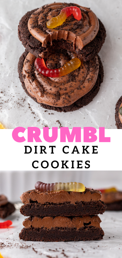 Chocolate dirt cake cookies with gummy worm on top