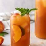 Peach tea over ice
