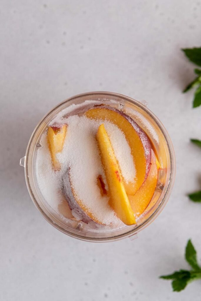 Peaches in a blender