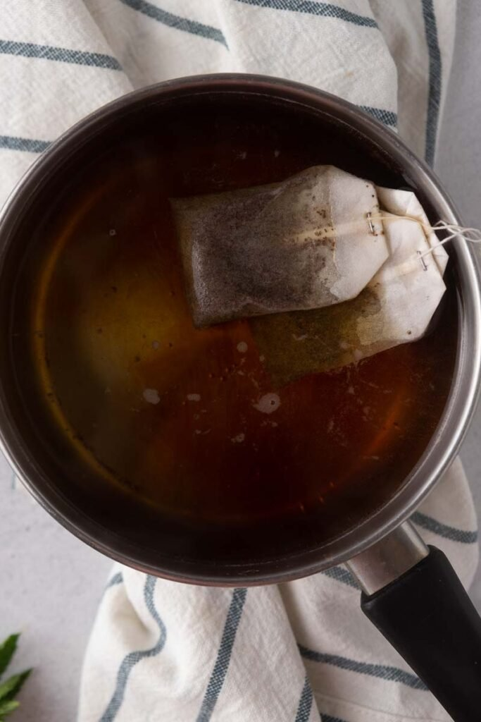 Black tea in hot water