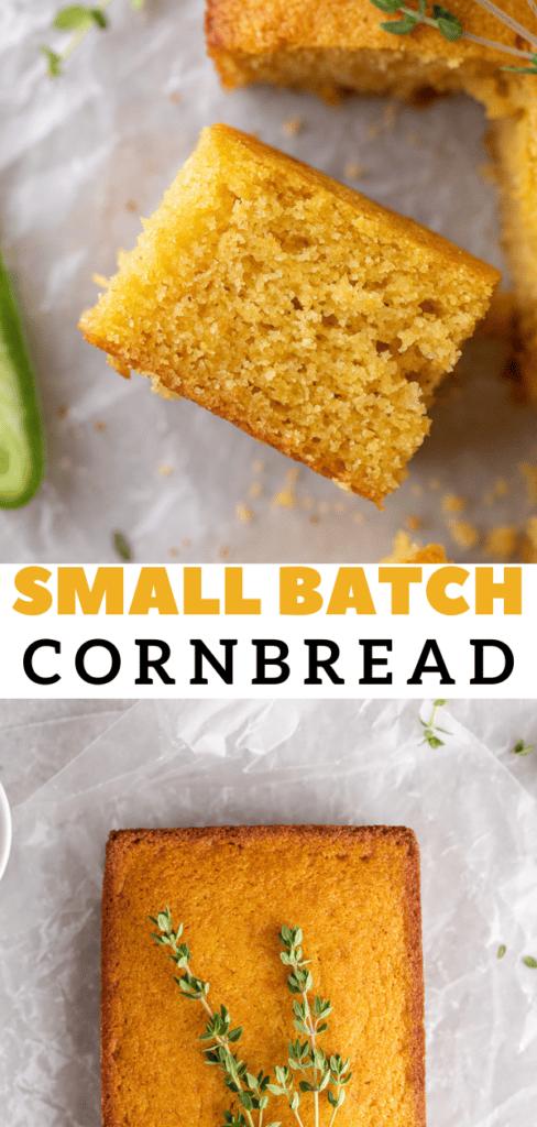 Cornbread in a loaf pan