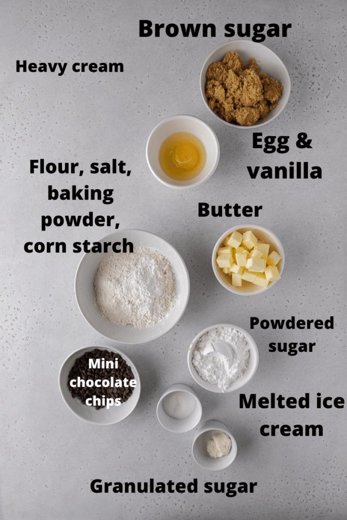 Ingredients for Crumbl cookie dough cookies