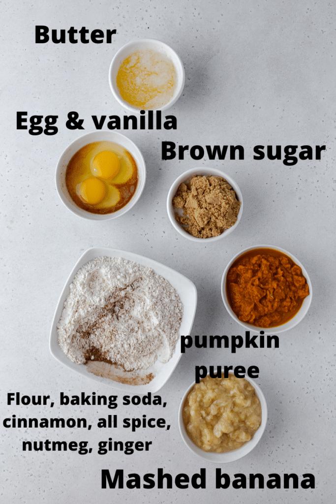 ingredients for pumpkin banana bread recipe