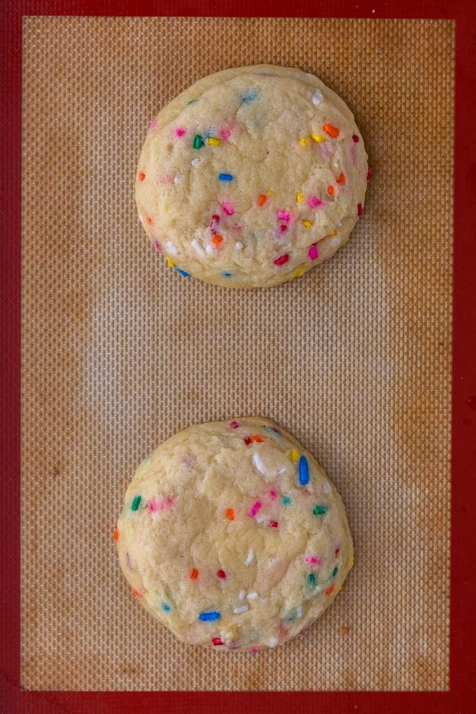Funfetti cookies on a baking sheet