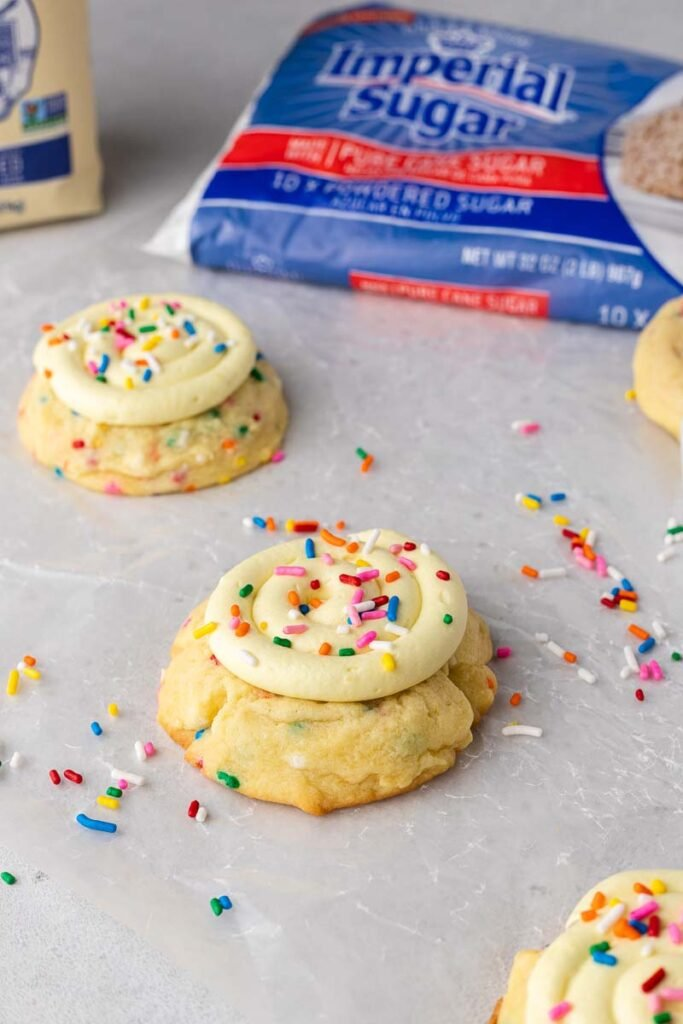 Frosted Crumbl birthday cake cookies