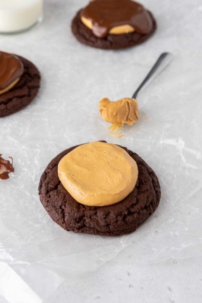 Chocolate cookie with peanut butter fudge