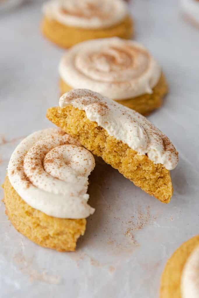 Crumbl Caramel Pumpkin cookies split in half