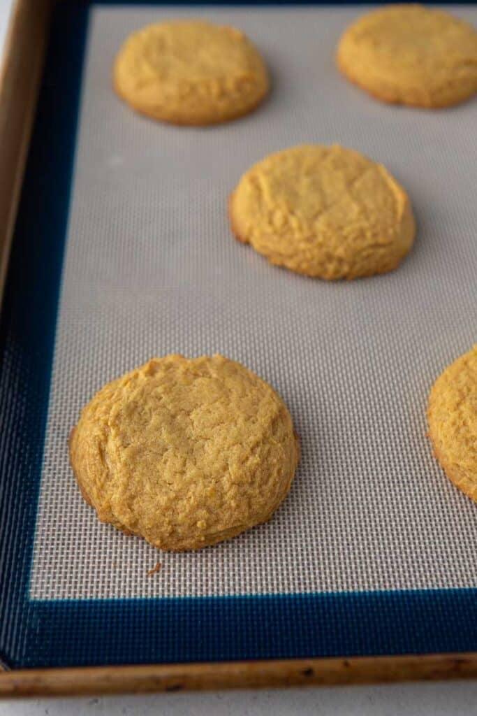 Pumpkin cookies on baking sheet