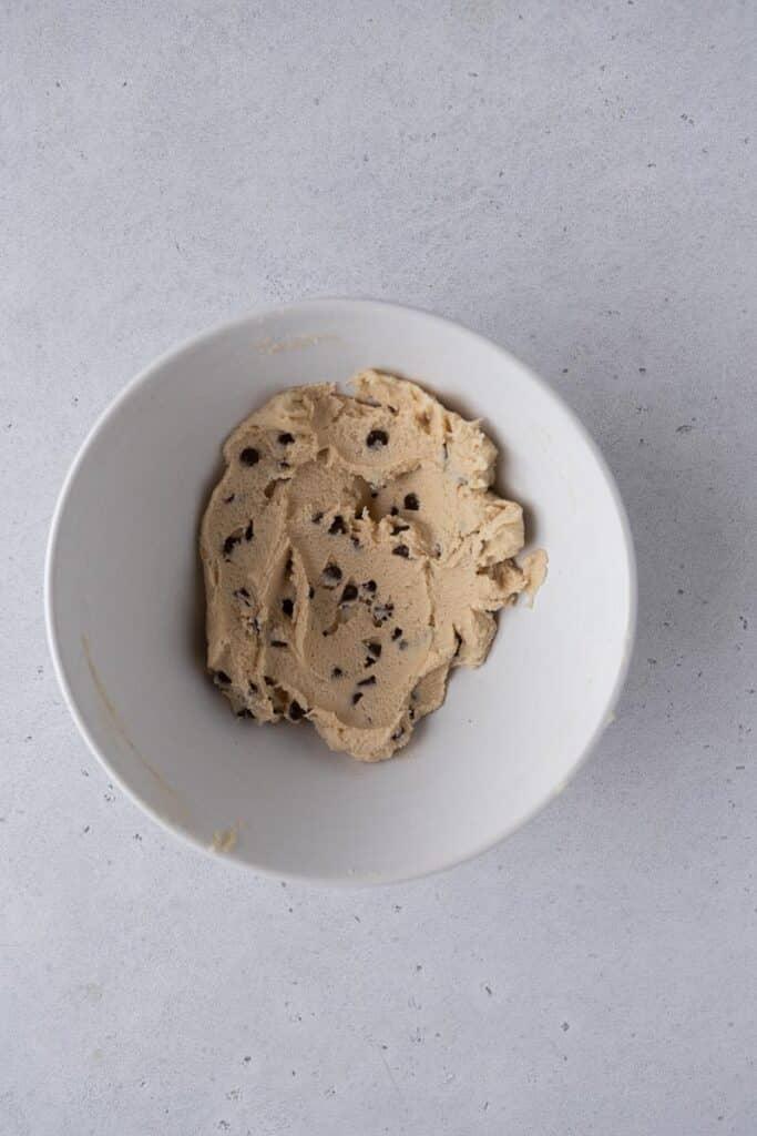 Edible cookie dough in a bowl