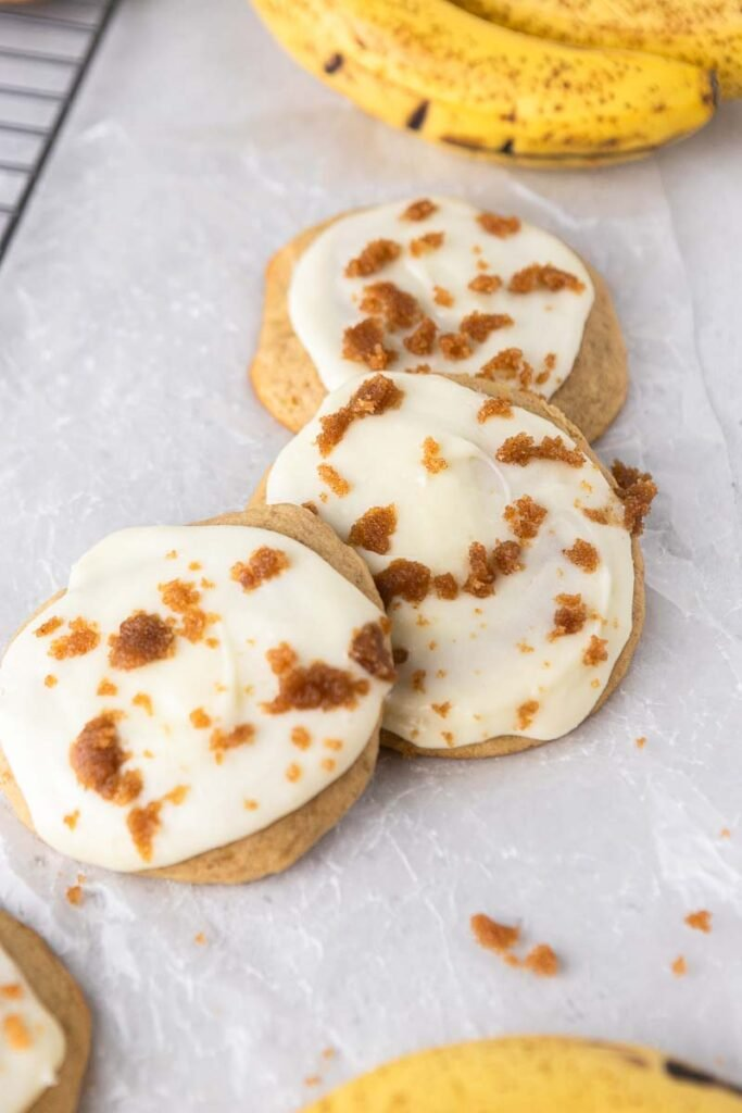 Glazed banana bread cookies