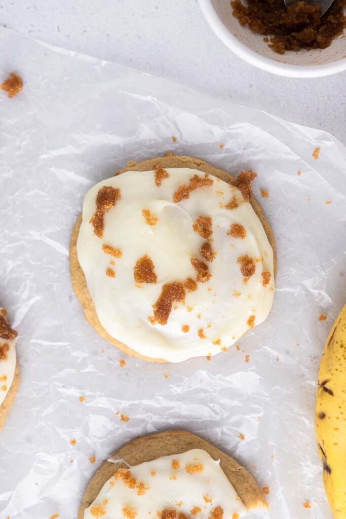 Overhead banana bread cookie photo