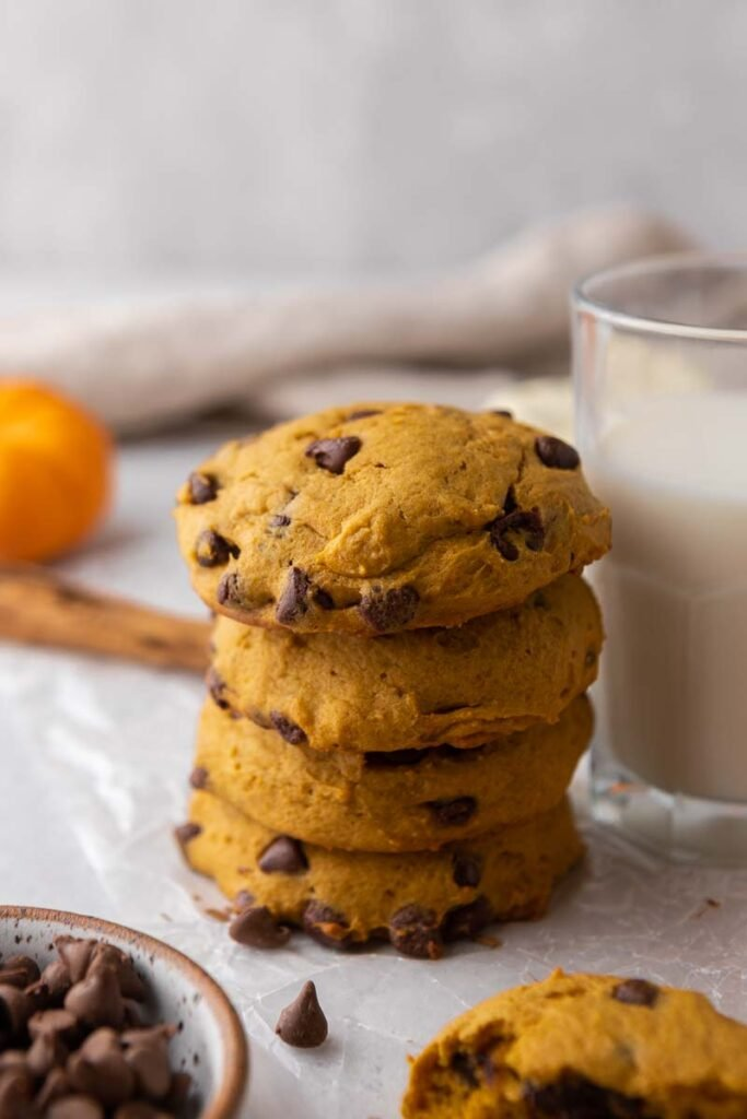 Stacked pumpkin chocolate chip cookies