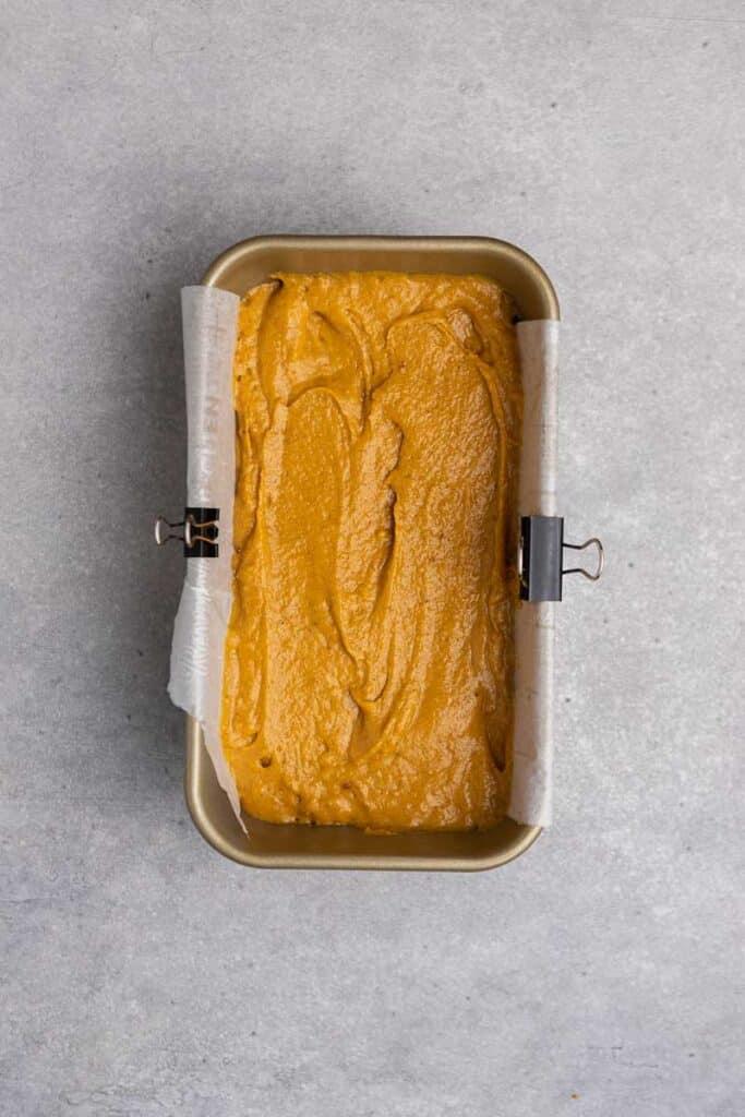Pumpkin batter in loaf pan