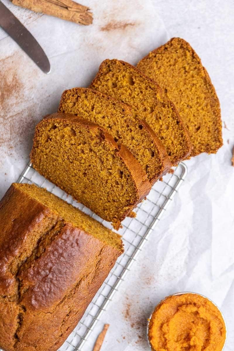 Sliced pumpkin loaf cake