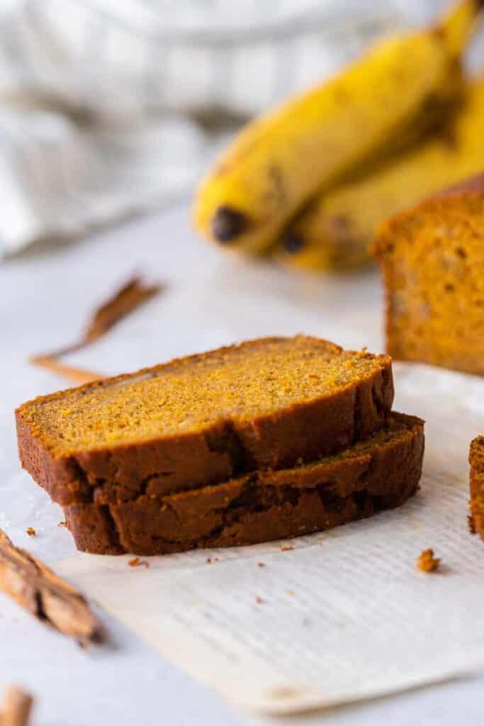 Stacked pumpkin banana bread