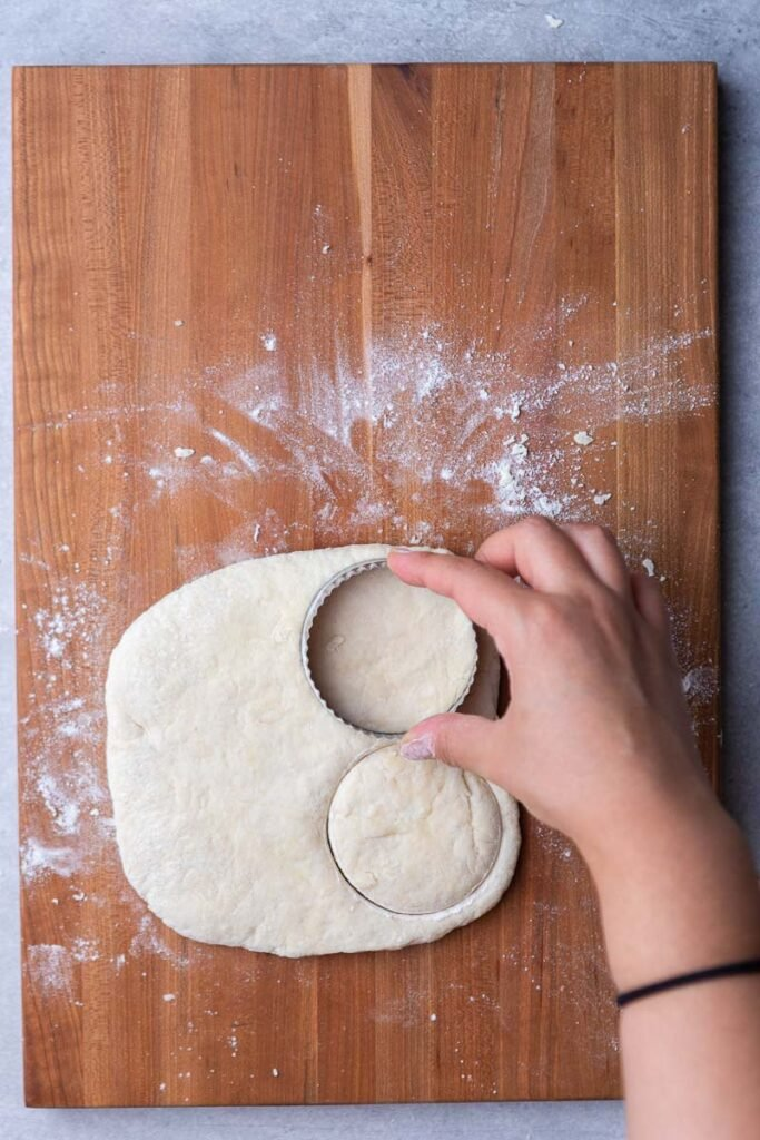 Hand cutting biscuits