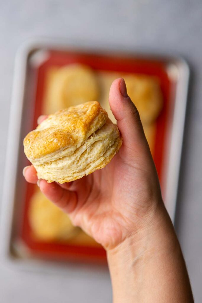 Hand holding flaky biscuit