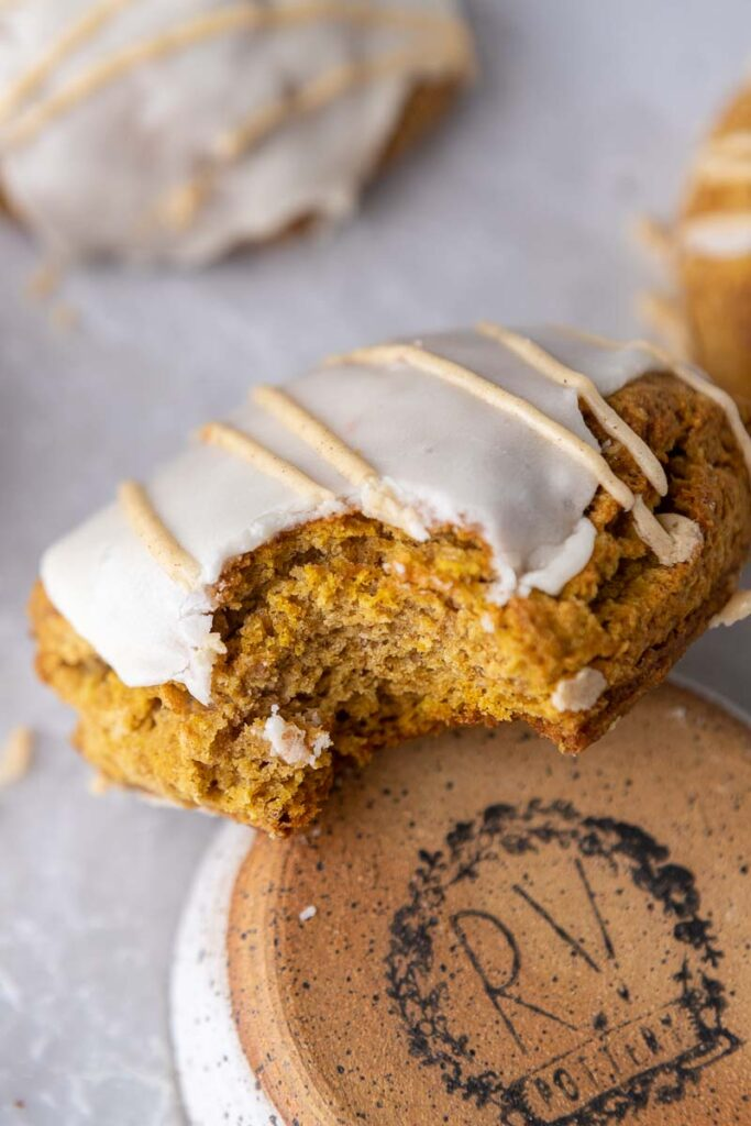 Starbucks pumpkin scone with a bite taken out of it