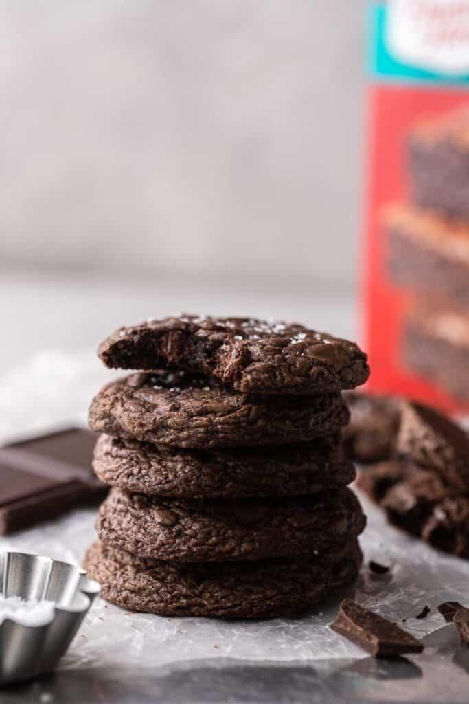 Stacked Crumbl brownie batter cookies