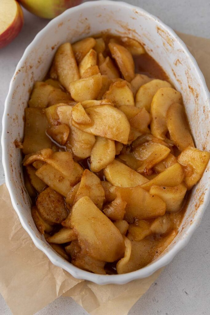 baked cinnamon apples in a dish