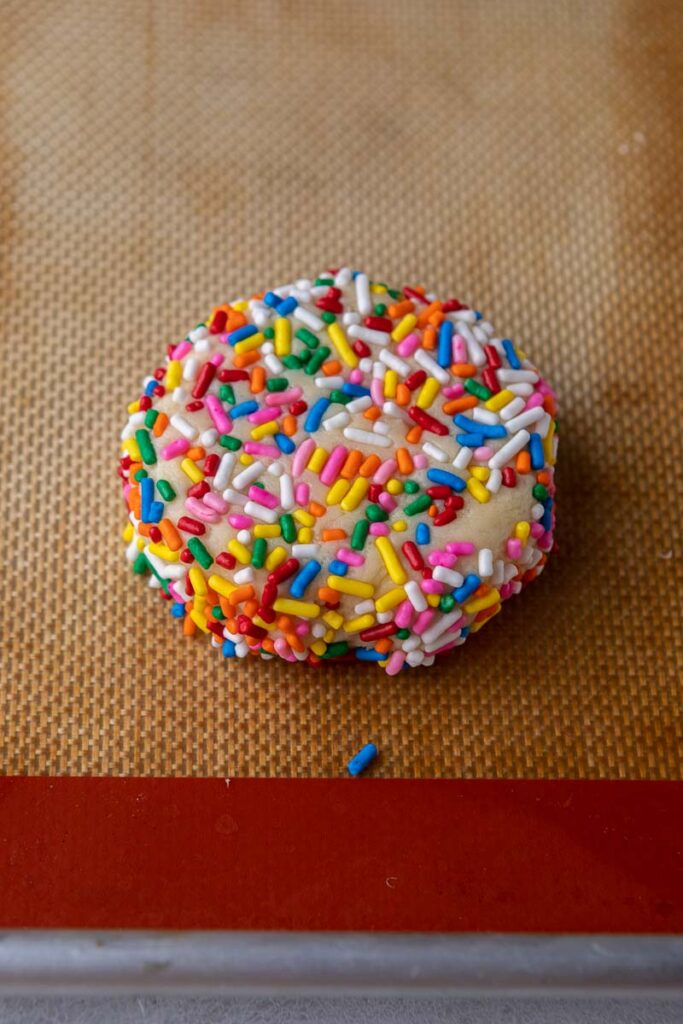 Cookie dough rolled in sprinkles