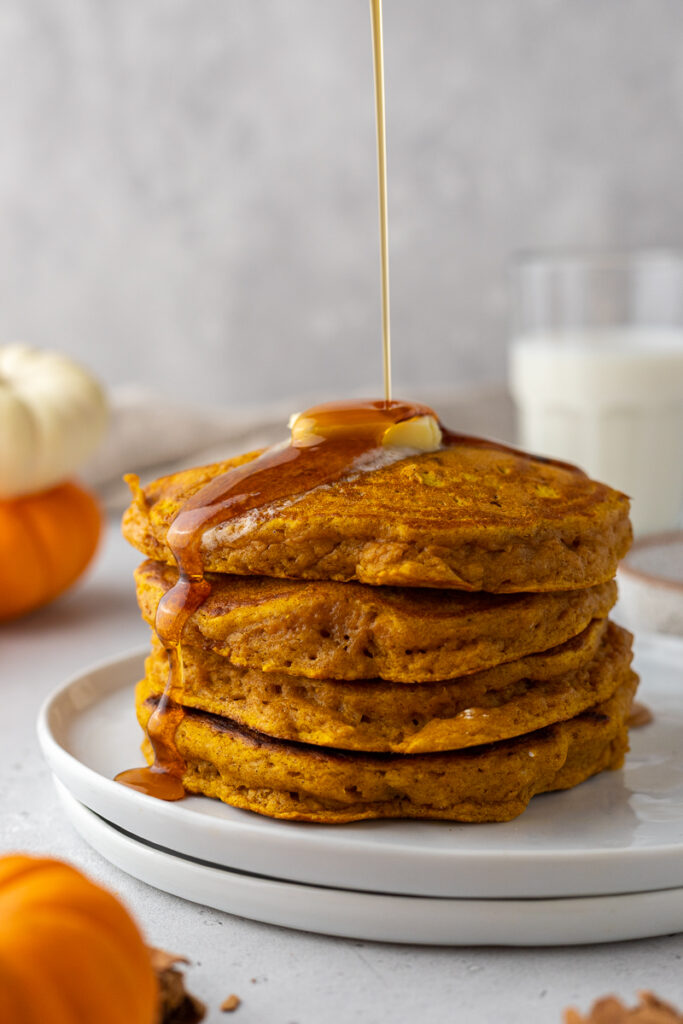 Fluffy pumpkin pancake stack