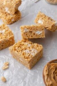 Peanut butter rice krispie treats with marshmallows