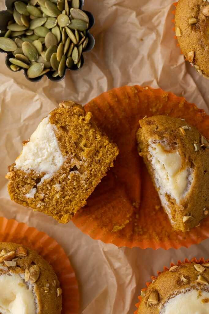 Starbucks pumpkin cream cheese muffin cut in half